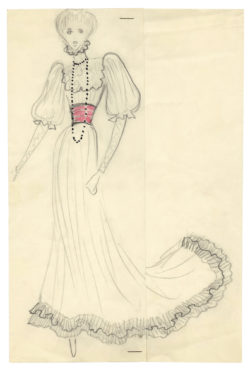 Sketch of a costume for Jane Birkin on the occasion of the Bal Proust hosted by Baron and Baroness Guy de Rothschild at the Château de Ferrières on December 2, 1971., © Musée Yves Saint Laurent Paris