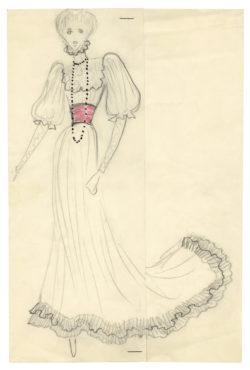 Croquis de costume pour Jane Birkin à l'occasion du Bal Proust organisé par le baron et la baronne Guy de Rothschild le 2 décembre 1971 au château de Ferrières., © Musée Yves Saint Laurent Paris