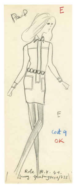 Sketch of a costume for Catherine Deneuve in the role of Séverine Serizy in the film Belle de jour, directed by Luis Buñuel in 1967 and based on the novel by Joseph Kessel., © Musée Yves Saint Laurent Paris