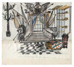 Sketch of a set for the library in Acts II and III of the play L'Aigle à deux têtes (The Eagle with Two Heads) by Jean Cocteau, directed by Jean-Pierre Dusseaux at the Théâtre de l'Athénée - Louis Jouvet, 1978., © Musée Yves Saint Laurent Paris