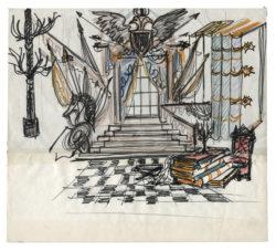 Croquis de décor pour la bibliothèque à l'acte II et III de la pièce L'Aigle à deux têtes de Jean Cocteau, mise en scène par Jean-Pierre Dusseaux au théâtre de l'Athénée – Louis Jouvet, 1978., © Musée Yves Saint Laurent Paris