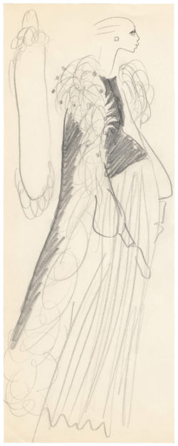 Sketch of a costume for Catherine Deneuve in the role of Lucile in the film La Chamade (Heartbeat), directed by Alain Cavalier in 1968 and based on the novel by Françoise Sagan., © Musée Yves Saint Laurent Paris