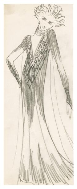 Sketch of a costume for the play La Chevauchée sur le lac de Constance (The Ride Across Lake Constance) by Peter Handke, directed by Claude Régy at the Théâtre des Ambassadeurs, Paris, 1974., © Musée Yves Saint Laurent Paris