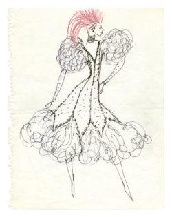 """Sketch of a costume for Zizi Jeanmaire for the """"Je cherche un homme"""" act in the music hall show La Revue, directed by Roland Petit at the Casino de Paris, 1970, © Musée Yves Saint Laurent Paris"""