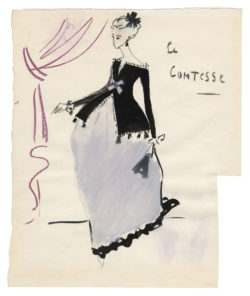 "Sketch of a costume for ""La Comtesse"" in the play Le Mariage de Figaro (The Marriage of Figaro) by Beaumarchais, directed by Jean-Louis Barrault at the Odéon Théâtre de l'Europe, Paris, 1964, © Musée Yves Saint Laurent Paris"