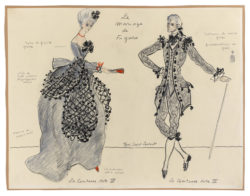 "Sketches of costumes for ""La Comtesse"" and ""Le Comte"" in Act III of the play Le Mariage de Figaro (The Marriage of Figaro) by Beaumarchais, directed by Jean-Louis Barrault at the Odéon Théâtre de l'Europe, Paris, 1964, © Musée Yves Saint Laurent Paris"