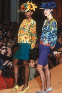 Evening ensembles, homage to Vincent van Gogh, worn by Naomi Campbell and Bess Stonehouse during the fashion show for the spring-summer 1988 haute couture collection, Salon impérial of the Hôtel Inter-Continental, Paris, January 1988. Photograph by Guy Marineau., © Musée Yves Saint Laurent Paris / Guy Marineau