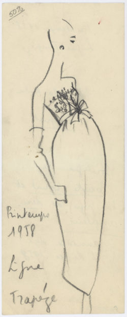 "Sketch for the design ""Muguet,"" with the annotation ""Trapeze Line."" Yves Saint Laurent for Christian Dior spring-summer 1958 ""Trapeze Line"" haute couture collection., © Musée Yves Saint Laurent Paris"
