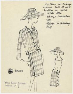 Original sketch of a suit. Spring-summer 1962 haute couture collection, © Musée Yves Saint Laurent Paris