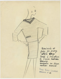 Original sketch of a sailor sweater and skirt. Spring-summer 1962 haute couture collection, © Musée Yves Saint Laurent Paris