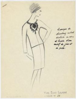 Original sketch of a short evening dress. Spring-summer 1962 haute couture collection, © Musée Yves Saint Laurent Paris