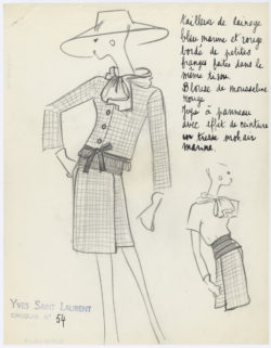Croquis original d'un tailleur en tweed. Collection haute couture printemps-été 1962., © Musée Yves Saint Laurent Paris