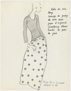 Original sketch of an evening gown. Spring-summer 1962 haute couture collection., © Musée Yves Saint Laurent Paris