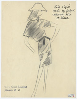 Original sketch of an afternoon dress. Spring-summer 1962 haute couture collection., © Musée Yves Saint Laurent Paris