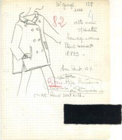 Fiche d'atelier dite « Bible » du premier caban. Collection haute couture printemps-été 1962., © Musée Yves Saint Laurent Paris