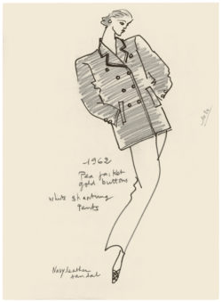 Illustrative sketch of the first pea coat designed by Yves Saint Laurent in 1983 for the Metropolitan Museum of New York exhibition catalogue., © Musée Yves Saint Laurent