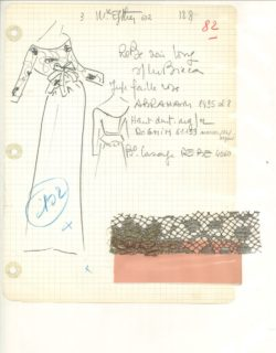 "Atelier's specification sheet, or ""Bible,"" for a daytime ensemble.  Autumn-winter 1962 haute couture collection., © Musée Yves Saint Laurent Paris"