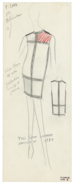 Original sketch of a cocktail dress. Homage to Piet Mondrian. Autumn-winter 1965 haute couture collection., © Musée Yves Saint Laurent Paris