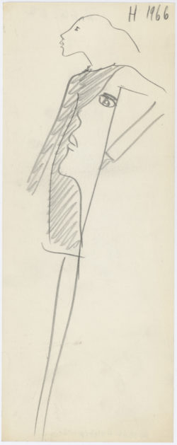 Original sketch of a cocktail dress. Homage to Tom Wesselmann. Autumn-winter 1966 haute couture collection., © Musée Yves Saint Laurent Paris