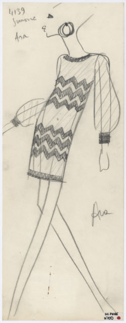 Original sketch of a short evening dress. Spring-summer 1966 haute couture collection., © Musée Yves Saint Laurent Paris