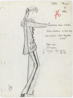 "Atelier's specification sheet, or ""Bible,"" for the first tuxedo. Autumn-winter 1966 haute couture collection., © Musée Yves Saint Laurent Paris"