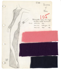 "Atelier's specification sheet, or ""Bible,"" for an evening gown. Homage to Tom Wesselmann. Autumn-winter 1966 haute couture collection., © Musée Yves Saint Laurent Paris"
