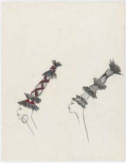 Sketches of headdresses. Homage to Bambara art. Spring-summer 1967 haute couture collection., © Musée Yves Saint Laurent Paris