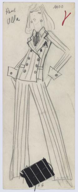 Croquis original du premier tailleur pantalon. Collection haute couture printemps-été 1967, © Musée Yves Saint Laurent Paris