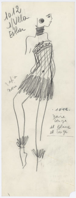 Original sketch of a short evening dress. Homage to Bambara art. Spring-summer 1967 haute couture collection., © Musée Yves Saint Laurent Paris