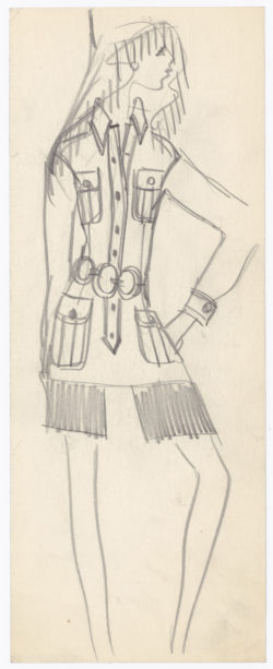 Original sketch of a safari jacket. Spring-summer 1968 haute couture collection., © Musée Yves Saint Laurent Paris