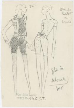 Croquis original d'un ensemble de soir court. Collection haute couture printemps-été 1968., © Musée Yves Saint Laurent Paris