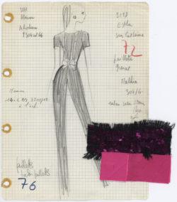 Fiche d'atelier dite « Bible » d'un ensemble pantalon. Collection haute couture printemps-été 1968., © Musée Yves Saint Laurent Paris