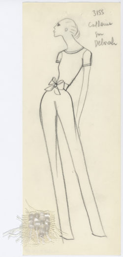 Croquis original d'un jumpsuit. Collection haute couture printemps-été 1968., © Musée Yves Saint Laurent Paris