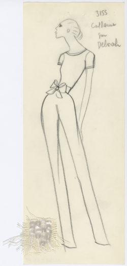Original sketch of a jumpsuit. Spring-summer 1968 haute couture collection., © Musée Yves Saint Laurent Paris