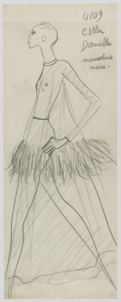 Original sketch of an evening gown. Autumn-winter 1968 haute couture collection., © Musée Yves Saint Laurent Paris