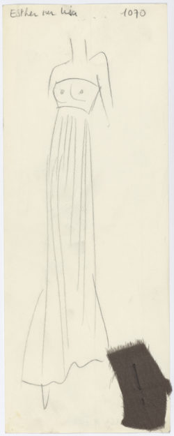 Original sketch of an evening gown. Autumn-winter 1969 haute couture collection., © Musée Yves Saint Laurent Paris