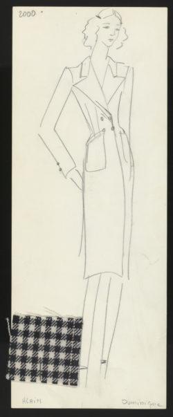 Croquis original d'un ensemble de jour. Collection haute couture printemps-été 1971 dite « Scandale »., © Musée Yves Saint Laurent Paris