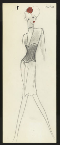 "Original sketch of a formal dress. Spring-summer 1971 haute couture collection, known as the ""Scandal"" collection., © Musée Yves Saint Laurent Paris"