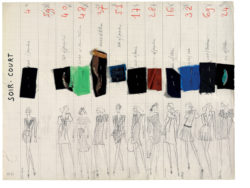 """Short eveningwear"" collection board. Spring-summer 1971 haute couture collection, known as the ""Scandal"" collection., © Musée Yves Saint Laurent Paris"