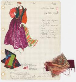 Fiche d'atelier dite « Bible » d'un ensemble de soir long. Collection haute couture automne-hiver 1976 dite « Opéra – Ballets russes »., © Musée Yves Saint Laurent Paris