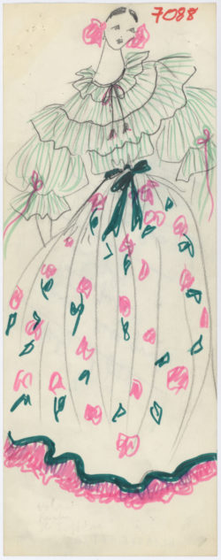 Original sketch of a Spanish-inspired formal ensemble. Spring-summer 1977 haute couture collection., © Musée Yves Saint Laurent Paris