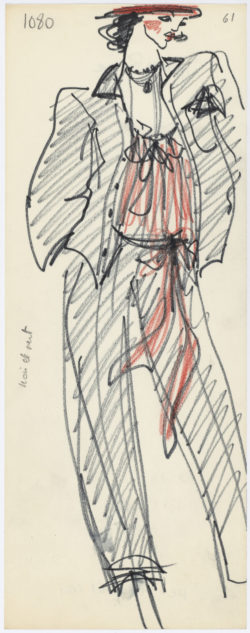 Croquis original d'un ensemble de soir, dit « Broadway Suit ». Collection haute couture printemps-été 1978., © Musée Yves Saint Laurent Paris