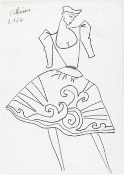 Sketch of an evening gown. Homage to Pablo Picasso. Autumn-winter 1979 haute couture collection., © Musée Yves Saint Laurent Paris