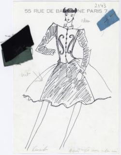 Sketch of an evening ensemble. Homage to Pablo Picasso. Autumn-winter 1979 haute couture collection., © Musée Yves Saint Laurent Paris
