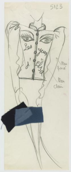 Croquis original d'un « ensemble Aragon ». Hommage à Louis Aragon. Collection haute couture automne-hiver 1980., © Musée Yves Saint Laurent Paris