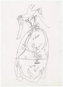 Original sketch of a dress inspired by Henri Matisse. Autumn-winter 1981 haute couture collection., © Musée Yves Saint Laurent Paris