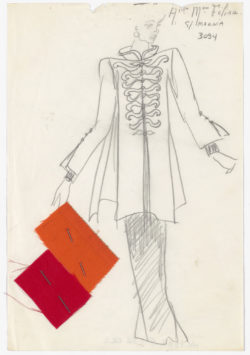 Original sketch of an Indian-inspired long evening ensemble. Spring-summer 1982 haute couture collection., © Musée Yves Saint Laurent Paris