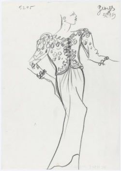"Original sketch of a long evening ensemble with the ""Homage to My House"" jacket. Spring-summer 1990 haute couture collection, known as ""The Homages"" collection., © Musée Yves Saint Laurent Paris"