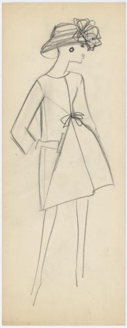Croquis de recherche. Collection haute couture Yves Saint Laurent pour Christian Dior, entre 1958 et 1960., © Musée Yves Saint Laurent Paris