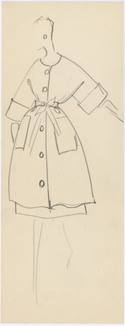 Research sketch. Yves Saint Laurent for Christian Dior haute couture collection, circa 1958-1960., © Musée Yves Saint Laurent Paris